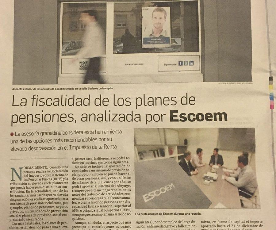 La fiscalidad de los planes de pensiones, analizada por Escoem