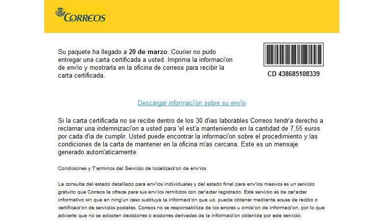 Phishing usando la imagen de Correos