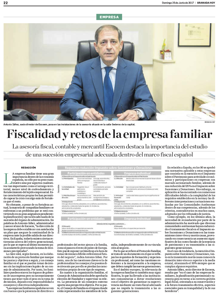 Fiscalidad y retos de la empresa familiar - Escoem