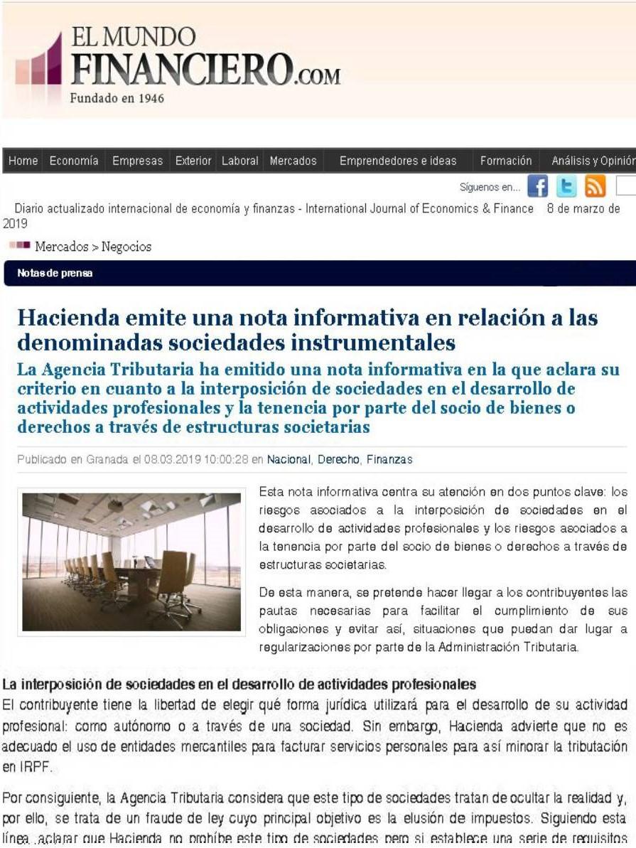 hacienda nota informativa sociedades instrumentales